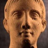 Crecchio (Ch), Museo dell'Abruzzo Bizantino e altomedievale, reperti etruschi, Testa maschile votiva, III - II sec. a.C.