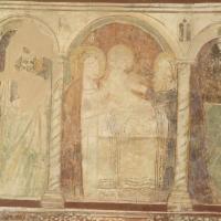Rocca di Cambio (AQ), chiesa di Santa Lucia, affreschi della parete sinistra, circoncisione di Gesu o Presentazione al Tempio