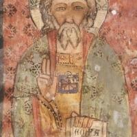 Rocca di Cambio (AQ), chiesa di Santa Lucia, affreschi della parete destra, Cristo Benedicente